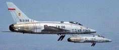 North American F-100 Super Sabre - The 'Hun'. The rear aircraft, 55-2918 was with the 3rd TFW and was damaged in a VC rocket attack on Bien Hoa AB, South Vietnam Feb 22, 1969. Couldn't find much on the forward aircraft other than it was delivered to the Military Aircraft Storage and Disposition Center in 1979 and was converted to a QF-100D. Air Fighter, Fighter Jets, War Jet, Jet Air, Us Military Aircraft, Aviation Image, Military Pictures, Fighter Aircraft, War Machine