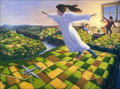 The beautiful surreal paintings by Canadian artist Robert Gonsalves, who leads us into a soft and poetic universe full of optical illusions, very inspired by famous works of Salvador Dali or Rene Magritte… Images © Robert Gonsalves / via / via Optical Illusion Paintings, Amazing Optical Illusions, Magic Illusions, Art Optical, Canadian Painters, Canadian Artists, Robert Gonsalves, Illusion Kunst, Fantasy Kunst