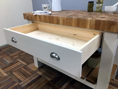 Freestanding Kitchen Island fitted with an 80mm thick butcher's block oak worktop. Features a useful full width drawer mounted on soft close runners & a slatted oak lower storage shelf. Shown here finished in Little Greene 'Clay Mid' but be hand painted in any other colour. Size shown is W:1200mm H:910mm D:620mm & paint colour is Little Greene Clay Mid. Shelves, Freestanding Kitchen Island, Workstation, Freestanding Kitchen, Painted Kitchen Island, Storage Shelves, Medium Kitchen, Storage, Kitchen Design