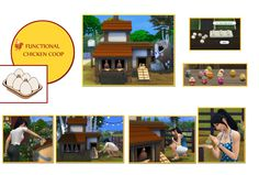 A functional chicken coop for by icemunmun. Allows Sims to buy chickens, feed them, collect eggs, and interact with the chickens and baby chicks. It's an incredibly detailed CC!