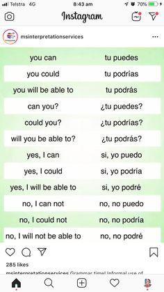 Spanish Grammar, Spanish Words, Spanish English, Spanish Language Learning, English Vocabulary Words, English Phrases, Learn English Words, Learn A New Language, Teaching Spanish