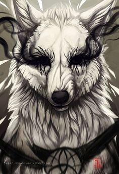 Shattering by wolf-minori on DeviantArt - Shatter-Female-Completely cruel,evil,bloodthirsty,won't hesitate to snap someone's neck-Power:D - Anime Wolf, Dark Creatures, Mythical Creatures, Fantasy Wolf, Fantasy Art, Wolf Black And White, Demon Wolf, Drawn Art, Wolf Wallpaper