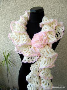 "Crochet Ruffle Scarf PDF, ""Winter Honeymoon"" Ruffled Scarf Tutorial Pattern, Ivory Crochet Neckwarmer, Lyubava Crochern Pattern number 47. via Etsy."