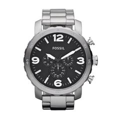 Fossil Nate Chronograph Stainless Steel Mens Watch JR1353 Fossil. Save 2 Off!. $123.00