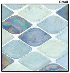 Supplier: Tile Store Online, Name: Aquatica Color: Atlantis, Type: Rhomboid Diamond Oval Glass Mosaic Tile, Size: Cottage Dining Rooms, Cottage Living, Living Room, Kitchen Splashback Tiles, Beach House Kitchens, Tile Stores, Travel Oklahoma, Glass Mosaic Tiles, Shower Floor