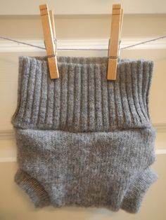 PLAIN JANE wool shorties Upcycled soaker cloth diaper cover size Small gender neutral boy girl Recycled Repurposed sweater solar made