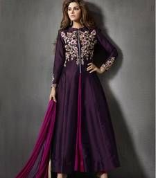 Buy Purple silk embroidered semi stitiched salwar with dupatta party-wear-salwar-kameez online