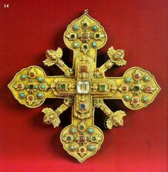 CROSS-reliquary  1753g. MUSH. Silver, colored stones, turquoise. Casting, engraving, filigree, gilding, inlaid. 21.5h21.5 cm