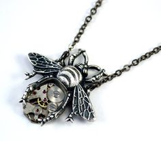 Bee Necklace Steampunk Bee Pendant Silver Bee by Chanchala on Etsy, £28.00