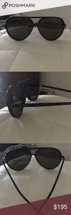Celine black plastic frame aviators Celine black plastic frame aviators, excellent condition like new. Purchased from solstice but did not come with case so they would be shipped out in a pouch ! Celine Accessories Sunglasses