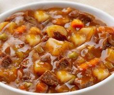 Crockpot Stew that can cook all day long!    When I try this I am going to prepare the food, such as slicing and peeling the   night before, so all I have to do in the morning before work is dump it all in   the crock pot!