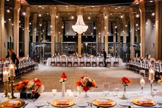A stunning Fall wedding reception with estate tables at the San Diego Museum of Art | Photos by Petula Pea Photography