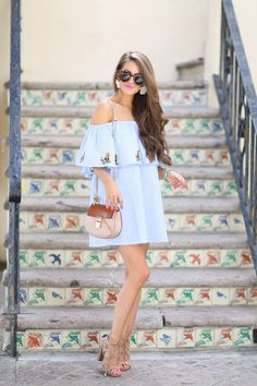 love this off shoulder dress for vacation