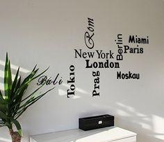 """""""City"""" 3D Wandtattoo div. Städtenamen für die Wand / Dekoschriftzug aus Acrylglas / Plexiglas CHRISCK design http://www.amazon.de/dp/B0100TF500/ref=cm_sw_r_pi_dp_GhOJvb1W7S7VS"""