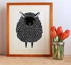 "Black Sheep Print (8""x10"")  via Fancy HuLi | Designer Gift Shop for Animal Lovers"