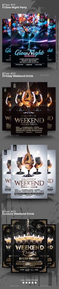 Weekend Drink Flyers Bundle - Clubs & Parties Events