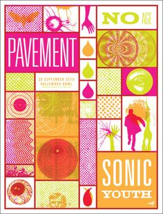 Pavement / Sonic Youth / No Age Gig Poster by Lil Tuff
