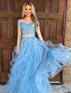 Off the Shoulder Ruffled Tiered Long Light Blue