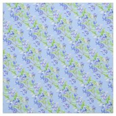 Speedwell wildflower repeat blue patterned fabric. Printed from a original watercolor painting by www.sarahtrett.com #speedwell #floralfabric