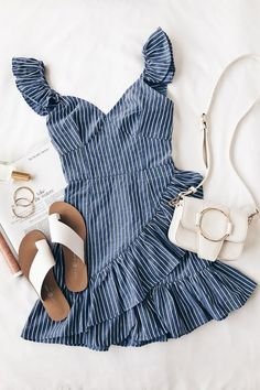 Parcel Blue and White Striped Ruffle Mini Dress - Preppy Spring Fashion Best Picture For outfits otoo For Your Taste You are looking for something, - Preppy Dresses, Dress Outfits, Casual Outfits, Mini Dresses, Dresses Dresses, Sundress Outfit, Girls Dresses, Casual Jeans, Floral Dresses