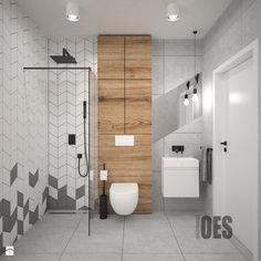 Szara łazienka - Średnia łazienka w bloku w domu jednorodzinnym bez okna, styl skandynawski - zdjęcie od OES architekci