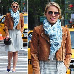 Dianna Agron cropped brown leather jacket, scarf, flats & dress {CelebStyle/PopSugar}