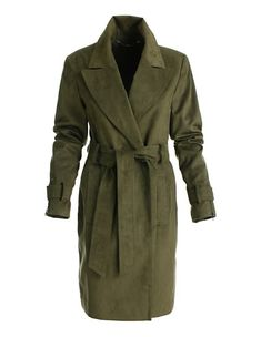 The soft material used for this double-breasted coat resembles suede yet is machine washable. Features all the characteristic trench coat details. Suede Trench Coat, Green Trench Coat, Short Trench Coat, Double Breasted Trench Coat, Mantel Trenchcoat, Madeleine Fashion, Khaki Green, November, Style Inspiration