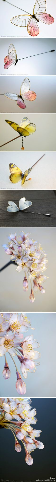 Hair pins - butterfly or flowers, so lovely!