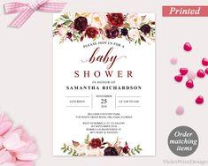 Marsala Baby Shower Invitation. Printed Burgundy Baby Shower Invitation. Modern Maroon Floral Pink Baby Shower Invitation. Free Shipping http://etsy.me/2na095z #papergoods #red #babyshower #pink #marsala #baby #shower #invitation #printed