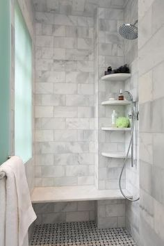this basic bathroom style becomes more streamlined and contemporary with tile walls shelving built into the shower and a glass showe bathroom ideas - Basic Bathroom Ideas