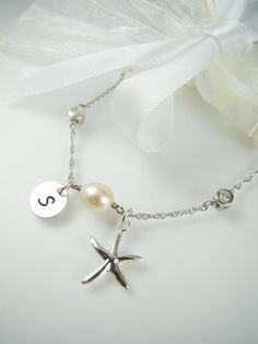Starfish Seashell Necklace Sterling Silver Bridesmaid Gift
