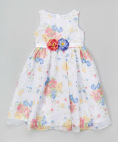 Loving this White & Yellow Floral Babydoll Dress - Toddler & Girls on #zulily! #zulilyfinds