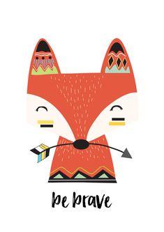 Tribal Fox Print - Nursery Prints - Kids Room Wall Art - Print - Print - Boys Bedroom Wall Art Decor Prints- Be Brave Print Tribal Fox, Tribal Animals, Arte Tribal, Nursery Prints, Nursery Art, Cute Drawings, Animal Drawings, Scrapbooking Image, Fox Drawing