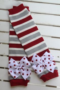 Alabama Leg Warmers -- Crimson Tide Leg Warmers -- bow leg warmers for baby girls -- Roll Tide -- red and gray striped on Etsy, $13.95