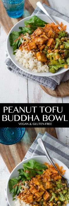 Peanut Tofu Buddha Bowl A healthy lunch or dinner perfect for the New Year Brown rice the BEST tofu vegetables roasted broccoli in a simple peanut sauce Vegan and GlutenF. Vegetable Recipes, Vegetarian Recipes, Healthy Recipes, Tofu Dinner Recipes, Best Tofu Recipes, Dinner Healthy, Bol Buddha, Easy Peanut Sauce, Vegan Peanut Sauce
