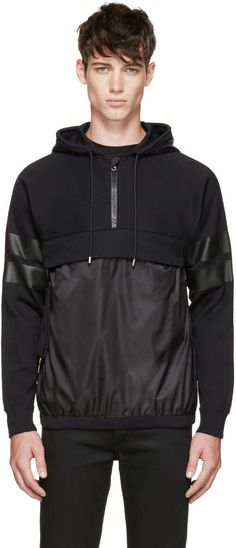 Givenchy Black Hybrid Hoodie: