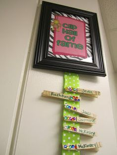 Love this idea!  When kids move their behavior clip up to the highest level, they receive a jewel on their clip.  When they get 5 jewels, they retire their clip to the hall of fame and get a reward!