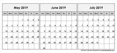 May June July 2019 Calendar: May June July 2019 Calendar Printable Template, Editable May June July 2019 Calendar Blank Template with notes 3 Month Calendar, June 2019 Calendar, Calendar 2019 Printable, Holiday Calendar, Blank Calendar, Calendar Design, 3 D, Printables, Templates