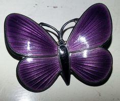 Vintage Sterling Silver Purple Enamel Butterfly Pin/Brooch | Finn Jensen, Norway