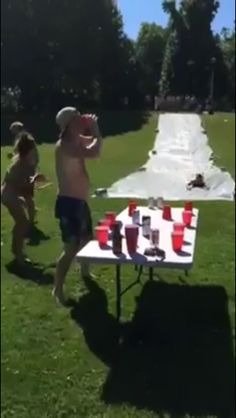 Slip and flip! A game I'm definitely having for our bridal party beer Olympics! :)