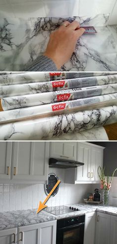 Use contact paper comes in marble pattern to update your kitchen countertop.