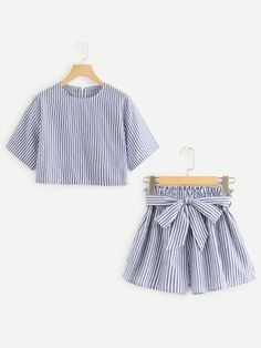 Knot Back Striped Halter Top With Shorts, Summer Outfits, Two-Piece Sets, Co-ordinates Fashion Online For Women Cute Girl Outfits, Edgy Outfits, Baby Girl Dresses, Outfits For Teens, Pretty Outfits, Summer Outfits, Fashion Outfits, Kids Dress Collection, Teenager Mode