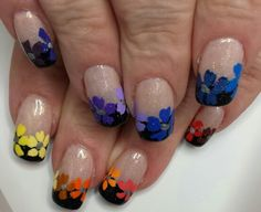 Rainbow flowers nail art.  Inspired by Robin Moses.
