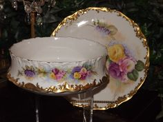 Limoges Beautiful Signed Center Bowl with Pink/Yellow Roses and Matching Charger/Tray
