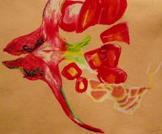 Oil Pastel on Card, 'Pomegranate.'