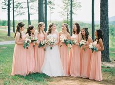 Soft and romantic mountain wedding. Wedding party. Dresses by @DonnaMorgan in Peach Fuzz. Film photography.