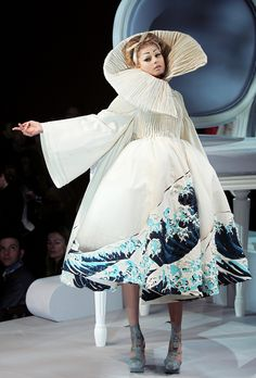 """John Galliano for The House of Dior, Spring/Summer 2007, Haute Couture inspired by """"The Great Wave at Kanagawa"""" by Katsushika Hokusai"""