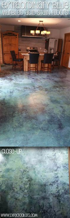 The Wilcox family used Azure Blue Acid Stain, AC 1315 High Gloss Sealer and Commercial Floor Wax and Polish. Concrete Patios, Concrete Floors, Plywood Floors, Concrete Countertops, Plywood Furniture, Laminate Flooring, Furniture Design, Floor Stain, Floor Wax