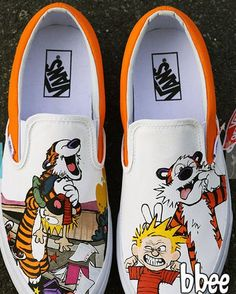 This listing is for a pair of Calvin and Hobbes themed shoes.These shoes are perfect for any Calvin and Hobbes fan and would make a excellent gift for birthdays or special occasions. Painted Canvas Shoes, Custom Painted Shoes, Painted Sneakers, Hand Painted Shoes, Custom Shoes, Custom Vans, Disney Painted Shoes, Painted Toms, Custom Converse