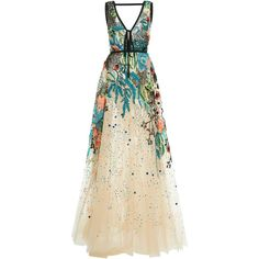 Elie Saab Bead Embroidered Tulle Gown (47.605 BRL) ❤ liked on Polyvore featuring dresses, gowns, elie saab, multi, v neck dress, embroidery dress, tulle ball gown, embroidered dress and plunging v neck dress